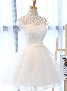 White Tulle Short Party Dress, Lace and Tulle White Homecoming Dress White Homecoming Dresses, White Tulle, Processing Time, Hemline, Beautiful Dresses, Lace Dress, Party Dress, Delivery, Zipper