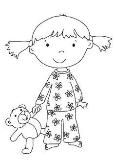 Coloriage Fille et ours en peluche et dessin à colorier Fille et