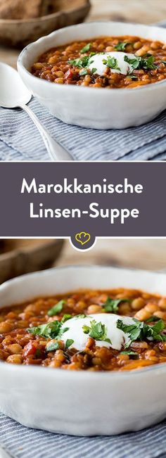 Moroccan Chickpea Lentil Soup- Marokkanische Kichererbsen-Linsen-Suppe In this spicy soup, chickpeas and lentils are refined with fresh coriander and cumin, which gives them a typical Moroccan touch. Veggie Recipes, Soup Recipes, Healthy Recipes, Lentil Recipes, Dinner Recipes, Spicy Soup, Healthy Weeknight Dinners, Lentil Soup, Soul Food