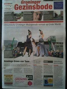 Artikel op voorpagina van de krant. Xsasa bruidsmode Groningen