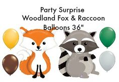 Woodland Animals Fox and Raccoon 36 Balloons Baby by PartySurprise