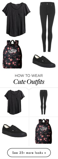 """""""Cute and simple school outfit"""" by kaybay01 on Polyvore featuring H&M, Vans and Cheap Monday"""