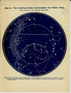 1926 constellations surrounding the north pole never visible in the southern hemisphere original star map vintage celestial chart print