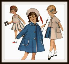 Vintage 50s Toddler Girls Nautical Skirt Blouse and Coat Child Pattern. $9.99, via Etsy.