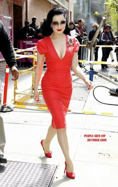 Dita Von Teese: Wendy Williams Show Visit!: Photo Dita Von Teese is red hot as she leaves a taping of The Wendy Williams Show on Thursday (May in New York City. The burlesque beauty chatted about… Burlesque, Pinup, Sexy Dresses, Vintage Dresses, Dita Von Teese Style, Dita Von Tease, Retro, Fashion Mode, Fashion Events