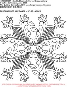 SJS165108A Rosemaling Sheilds Block with Curved Crosshatching by Sue Schmieden