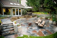Rustic, Patio, Stone, Outdoor Living, Walls, Steps, Fire Pit Patio Gregg and Ellis Landscape Designs Portland, OR