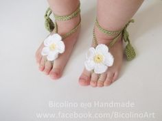 """Zapatos de punto/ganchillo - """"Pies descalzos"""", decoracion a ganchi... - hecho a mano por Bicolino en DaWanda"""