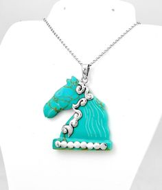 Sterling Silver Hand Carved Turquoise Horse Pendant #HandMade #Horse