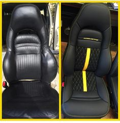 corvette yellow and black interior seats diamond stitch