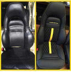 corvette yellow and black interior seats diamond stitch