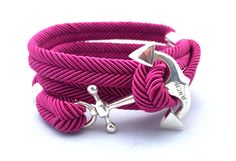RitaHayworth unisex bracelet with original anchor made of silver 925. A string in dark pink colour.