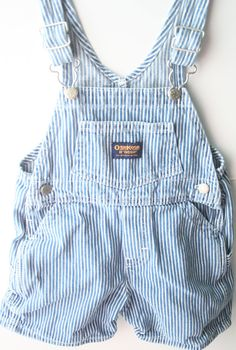 80's Osh Kosh B'Gosh Striped Shortalls  Size 18 by Blissfolk