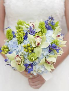 Wedding Flowers - bouquet - orchid - hydrangea - berries - green - blue - purple