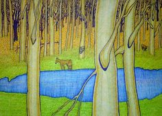"""Suzanne Berton drawing of """"Golden Woods"""""""
