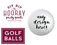 Personalized Golf Balls Promo Golf Balls Company Logo Promotional Products Custom Golf Ball Printed Golf Balls Tournament Golf Balls by SipHipHooray