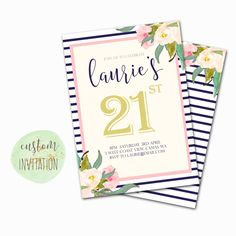 Customised Birthday Invitation \\ Personalised Printable Invite \\ 21st birthday \\ Navy and Pink Blush Stripe \\  THE JOULES COLLECTION by penpenpaper on Etsy