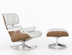 One of, if not the, most iconic designs of the Century, the Eames Lounge Chair & Ottoman range personifies mid-century cool. Shop Charles and Ray Eames' iconic Eames Lounge range of Armchairs and Footstools. Contemporary and designer furniture. White Eames Chair, White Ottoman, Eames Chairs, Chair And Ottoman, Vitra Chair, Sofa Chair, Swivel Chair, Chair Cushions, Lounge Design