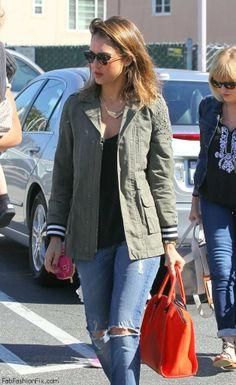 Jessica Alba street style with military jacket
