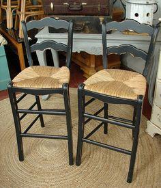 Pair Vintage Black Painted Distressed Bar Stools By Curiositync 99 00 Paint