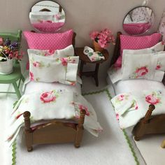Miniature Dollhouse Twin Beds with Complete by RibbonwoodCottage
