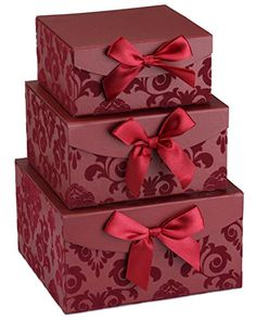 Red Swirl Nesting Elegant Christmas Gift Boxes Set of 3 With Bows Magnetic Closure >>> Check this useful article by going to the link at the image. #ChristmasGift