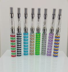 The Georgia Gypsy | The Stripe Design Collection of Bling Rhinestone Vapes Ecigs 8 designs. Want to show your team spirit and use your school colors? We welcome custom orders.