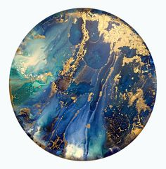 "20"" Round Acrylic, 18k gold and mixed media on canvas by Tara Bach"