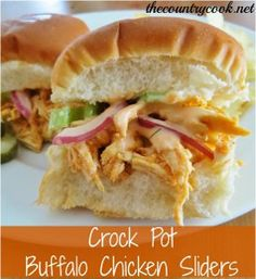 Slow Cooker Buffalo Chicken Sliders - This slow cooker chicken recipe doubles as a playful dinner recipe or as an appetizer recipe. These little buffalo chicken sandwiches are packed with flavor.