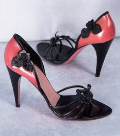 Prada Black and Rose Floral Leather Sandals. wow