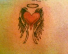 hot rod car tattoos: love heart with wings tattoo
