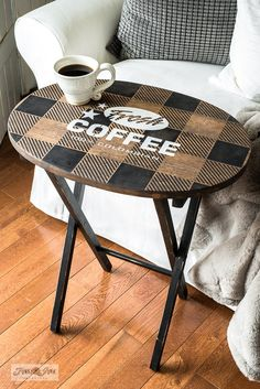 Learn how to transform a boring plain pine TV tray into this Buffalo Checked Fresh Coffee beauty! Showcasing Funky Junk's Old Sign Stencils and Fusion Mineral Paint. Diy Furniture Table, Furniture Makeover, Painted Furniture, Home Furniture, Furniture Stencil, Funky Furniture, Painted Tv Trays, Wooden Tv Trays, Tv Tray Makeover