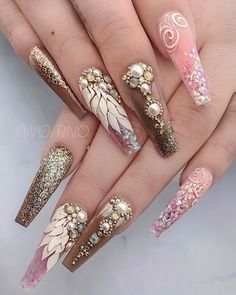 Ideas Fails Design Stiletto Matte Shape For 2019 Glam Nails, Dope Nails, Bling Nails, 3d Nails, Beauty Nails, Coffin Nails, Stylish Nails, Trendy Nails, Perfect Nails