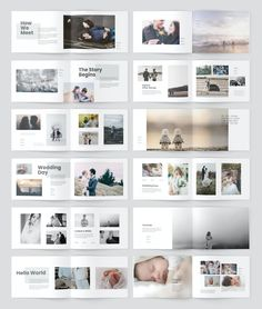 30 Pages InDesign Document Book Design Templates, Book Design Layout, Photo Book Design, Wedding Album Layout, Wedding Album Design, Minimalist Layout, Minimalist Photos, Adobe Indesign, Foto Newborn