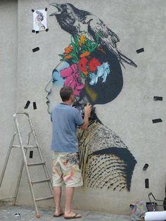 Streetart / Stencilling: FIN DAC New Murals In Ibiza/Spain