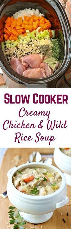This Slow Cooker Creamy Chicken and Wild Rice Soup will be the star of your winter cuisine! Perfect for chilly days. Get the easy recipe on RachelCooks.com! (Creamy Chicken)