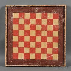Polychrome Paint-decorated Checkerboard American