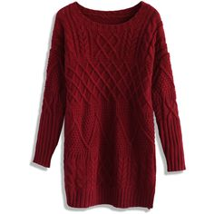 Chicwish Cable Knit Sweater Dress in Wine ($51) ❤ liked on Polyvore featuring dresses, sweaters, tops, vestidos et red