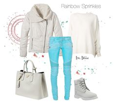 """Rainbow Sprinkles"" by debbie-michailides ❤ liked on Polyvore featuring Timberland, Prada, prAna, URBAN ZEN and Balmain"