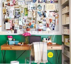 Big Color In A Mini Office... love the dramatic color on the bottom half of the walls... genius!