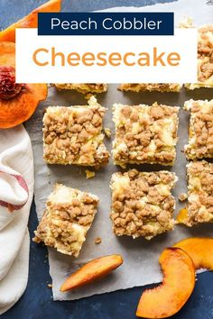 Creamy cheesecake is layered with fresh peaches, jam, a crumbly cobbler topping and a shortbread crust for the ultimate Peach Cobbler Cheesecake. This dessert is to die for! Peach Cobbler Crisp, Homemade Peach Cobbler, Southern Peach Cobbler, Cobbler Topping, Peach Crumble, Peach Crisp, Peach Cobbler Cheesecake Recipe, Cheesecake Bars, Peach Pie Filling
