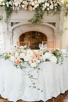 Rose gold inspired sweetheart table with greenery - Navy, rose gold and ivory wedding - white and peach wedding flowers - summer wedding Inspiration Ivory Wedding Decor, Peach Wedding Colors, White Wedding Flowers, Rose Wedding, Wedding Table, Floral Wedding, Wedding Reception, Peach Gold Weddings, Navy Peach Wedding