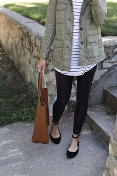 Stripes! Fall Outfit Idea. An Updated Pair of Flats, striped shirt, military jacket, leather earrings, and leggings.