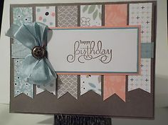 "Handmade Birthday card Using Stampin Up ""Sweet Sorbet"" Paper"