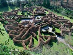 Penpont Maze, Powys. Located on the Penpont Estate, Brecon, Wales, the maze was designed by David Goff Eveleigh and commissioned by Gavin and Vina Hogg, the owners of the private guesthouse http://www.organicholidays.com/at/1560.htm