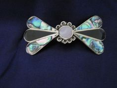 Bow Shaped Silver Plated Abalone Clip Hair Barrette #UpstreamTradingCompany