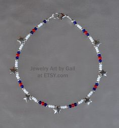 Red White and Blue Silver Star Beaded Anklet Beaded Braclets, Beaded Anklets, Seed Bead Bracelets, Ankle Bracelets, Beaded Jewelry, Beaded Necklace, Necklaces, Silver Stars, Blue And Silver