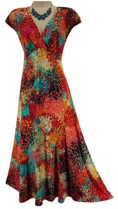 14 LARGE XL SEXY Womens MULTI-COLOR ABSTRACT PRINT DRESS Midi/Maxi Spring Summer #EvanPicone #MidiMaxi #Veratile