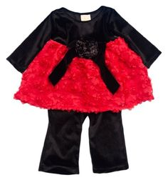 24M Haute Baby Black Velvet & Red Rose Tunic Set Tunic Set. Velour bodice, Flower embellishments and Red floral applique skirt.  #HauteBaby #Apparel