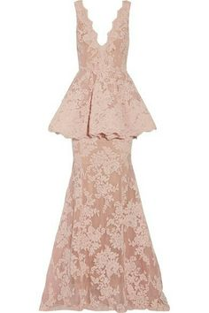 MARCHESA Tulle Paneled Lace Gown